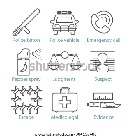 Vector thin line police icons for infographics and mobile games UX/UI