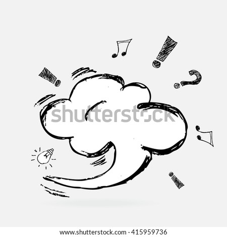 Vector Think bubble and Speech Bubble. Hand draw sketch talk bubble. - stock vector
