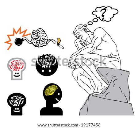 vector Thinking Man - stock vector
