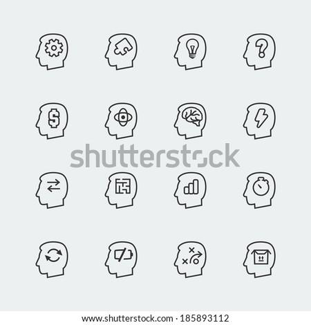 Vector thinking mini icons set - stock vector
