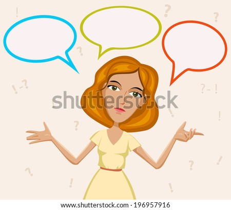 vector  Thinking woman with many  think, business ideas in empty bubble  - stock vector