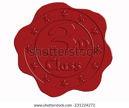 Vector Third Class Red Wax Seal with Stars - stock vector