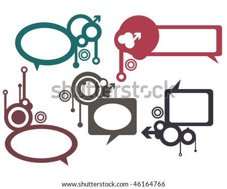 Vector Thought bubbles, speech bubbles, text clouds or baloons separate, white background. - stock vector