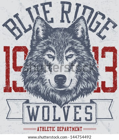 Vector three color retro wolf mascot athletic design complete with wolf head mascot illustration, vintage athletic fonts and matching textures (all on separate layers, of course). - stock vector