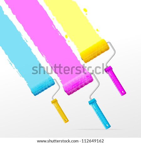 Vector three color roller brushes - stock vector