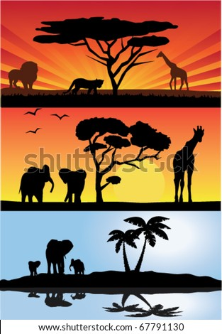 vector three different african landscapes with animals - stock vector