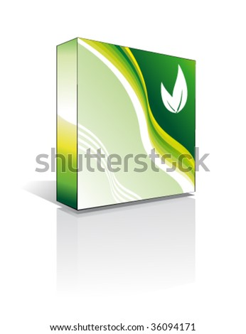 VECTOR Three Dimentional Business Software Box - Environment Green Series - stock vector