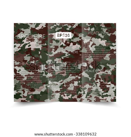 Vector three fold brochure design template with abstract military background EPS10 Tri-Fold Mock up & back Brochure Design - stock vector