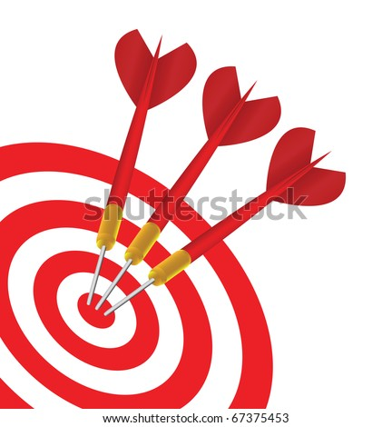Vector Three red Darts in the same target - stock vector