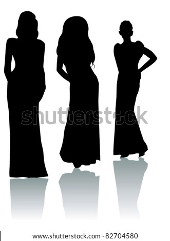 vector three women silhouettes with reflection - stock vector