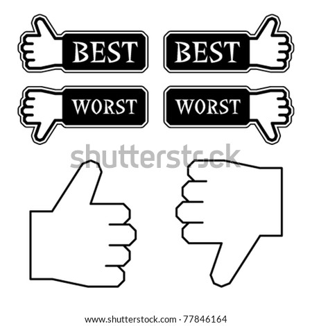 vector thumb best worst labels - stock vector