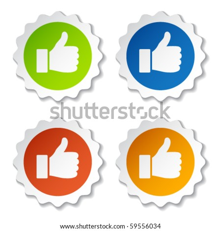 vector thumb up stickers - stock vector