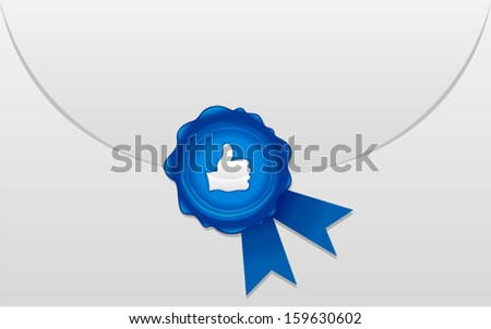 vector thumbs up icon envelope with wax seal - Separate layers for easy editing - stock vector