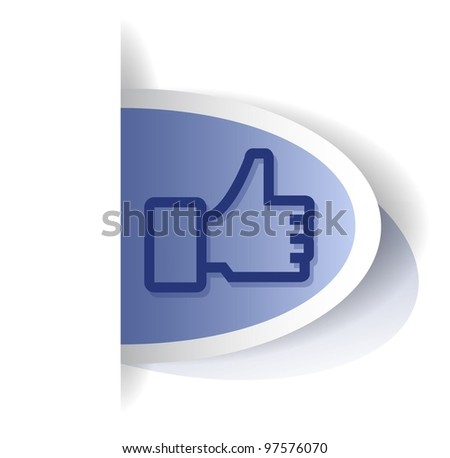 Vector thump up tag - stock vector