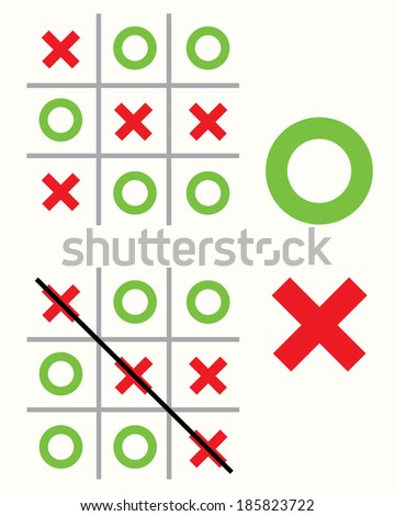Vector Tic Tac Toe Game and Pieces  - stock vector