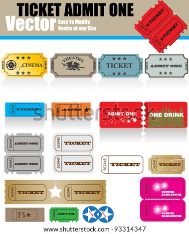 Vector Ticket Set - stock vector