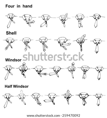 Vector tie and knot instruction, shell, four in hand, windsor,half windsor