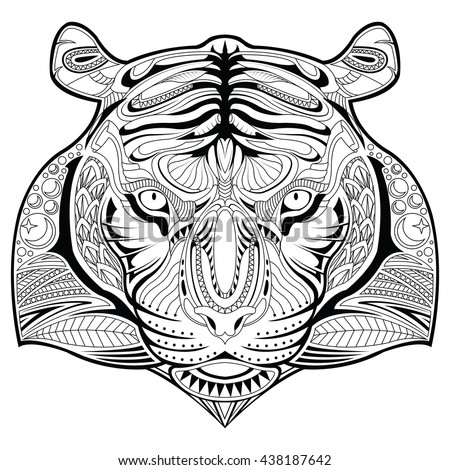 Vector Tiger face illustration coloring page