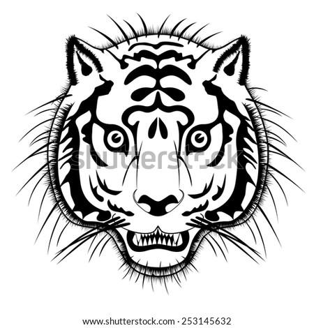 vector tiger head - stock vector