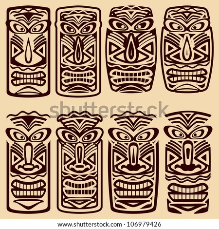 Vector Tiki Masks - stock vector