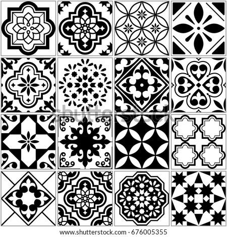 Vector Tile Pattern Lisbon Floral Mosaic Stock