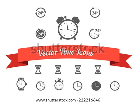 Vector time clock icons set isolated on white background with red ribbon - stock vector
