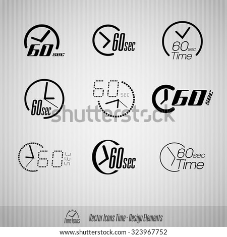 Vector time icons. 60 seconds symbols. Design elements. - stock vector