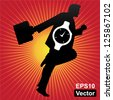 Vector : Time Management Concept Present By The Businessman and Hand Watch Inside in Red Shiny Background - stock photo