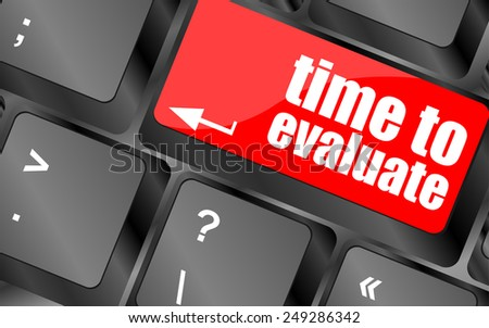 vector time to evaluate word on computer keyboard - social network concept - stock vector