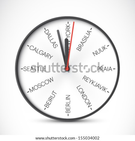 vector time zones - stock vector
