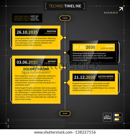 Vector timeline in techno style. - stock vector