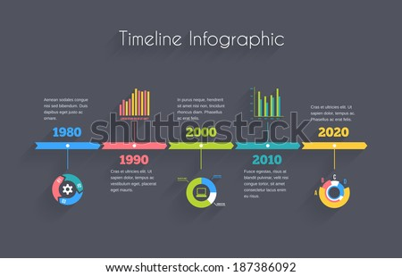 Vector Timeline Infographic template with charts and text - stock vector