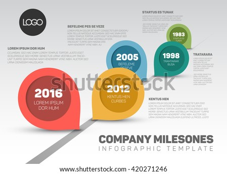 Vector timeline with Milestones and retro pointers. Colorful template design - stock vector