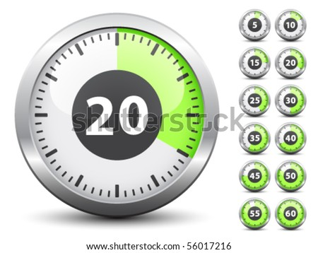 Vector timer - easy change time every one minute - stock vector