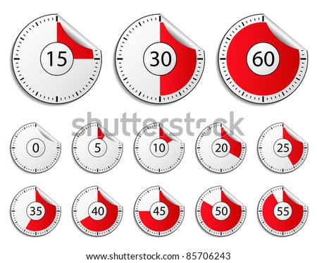 Vector timer stickers - stock vector