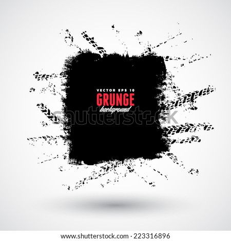 Vector tire track grunge background - stock vector