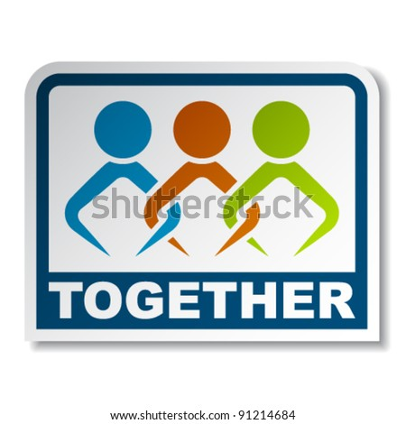 vector together joined people sticker - stock vector