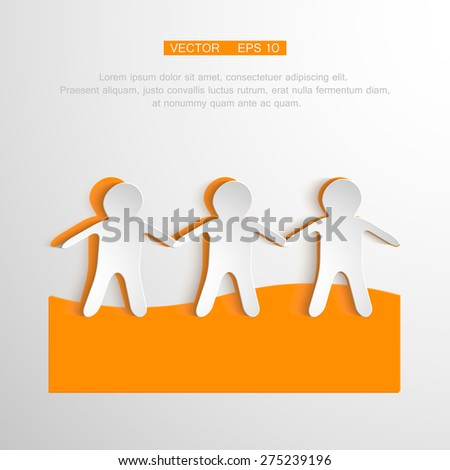 Vector togetherness concept illustration. People symbol chain. Elements are layered separately in vector file. - stock vector