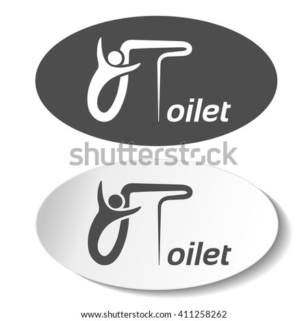 Vector toilet symbols isolated on white background. White silhouette with letters in a dark grey oval label and dark grey silhouette with letters in a white oval sticker.