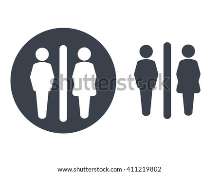 Vector toilet symbols isolated on white background. White silhouettes in a dark grey circle and dark grey male and female icon on white background. Man and woman sign.