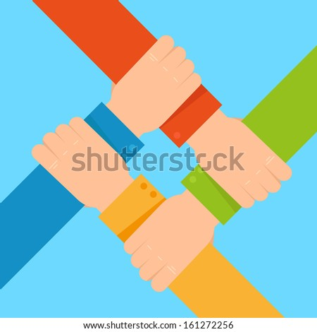 Vector tolerance and network concept - human hands in flat style - stock vector