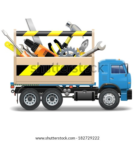 Vector Toolbox and Truck - stock vector