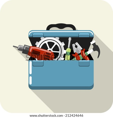 Vector Toolbox with Tools - stock vector