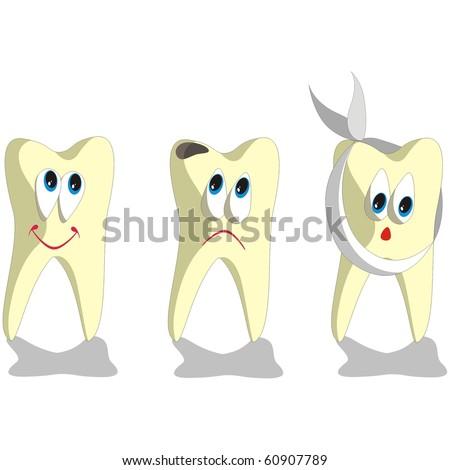 Vector. Tooth cartoon set 001 - stock vector
