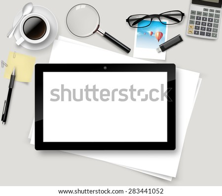 Vector Top office table with cup of coffee, papers, pencil, tablet. - stock vector