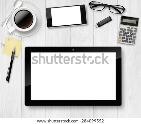 Vector Top office table with cup of coffee, pencil, tablet, and phone. - stock vector