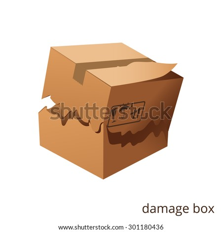 Vector torn and damage box, cargo, goods - stock vector