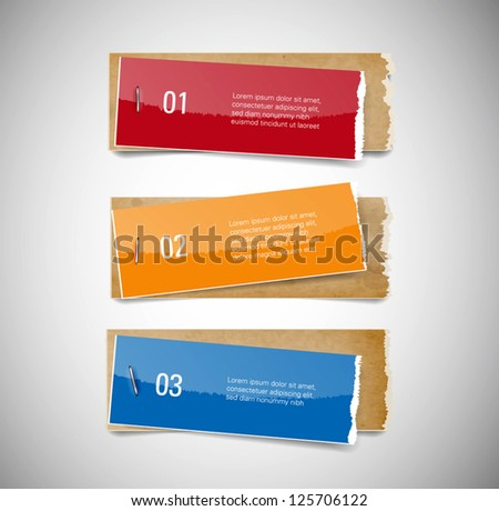 Vector torn glossy paper and old used stained cardboard banners attached with staples - stock vector