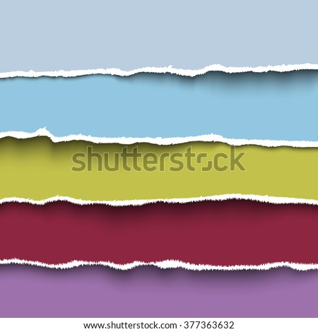 Vector torn paper. Collection of  four colorful pieces of torn paper with ripped edges. Header for web site, banner - stock vector