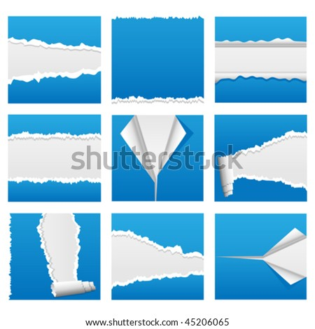 Vector torn paper design elements for web, presentations or computer applications. Rip, tear and peel variations included. JPG and TIFF versions of this image are also available in my portfolio. - stock vector